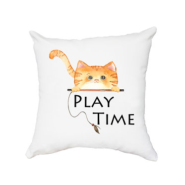 White cushion cover with zip 40cm x 40cm cute ginger cat play time image front view