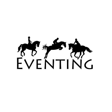 Three day eventing horse decal sticker front view in black