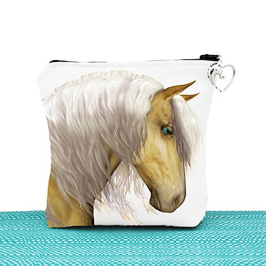 White cosmetic toiletry bag with zipper palomino horse image front view