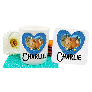 Ceramic coffee mug and drink coaster set with personalized horse in denim heart frame with text front view