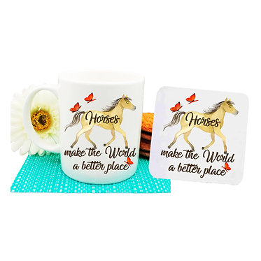 """Ceramic coffee mug and drink coaster set with horse and quote """"Horses make the world a better place"""" image front view"""