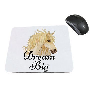 Neoprene computer mouse pad dream big horse image front view
