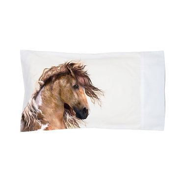 Pillowcase white wild paint horse image front left view