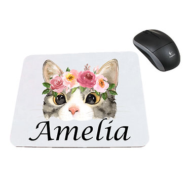 Personalized computer mouse pad with cat face with flowers image front view