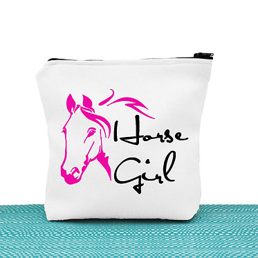 White cosmetic toiletry bag with zipper hot pink horse girl image front view