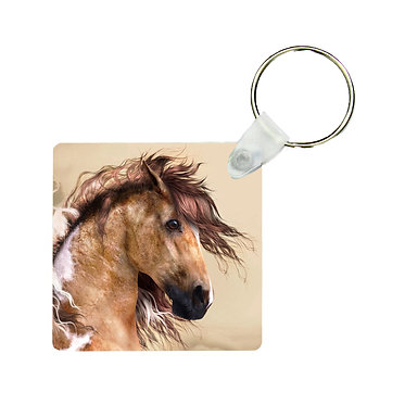 Square MDF wood key-ring wild paint horse image front view