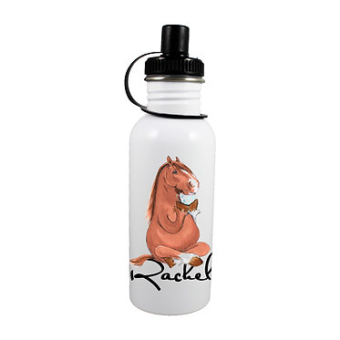 Personalised stainless steel water bottle horse sitting cross-legged image front view