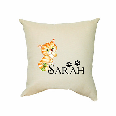 Personalized tan cushion cover with zip 40cm x 40cm with name and cute kitty with bow image front view