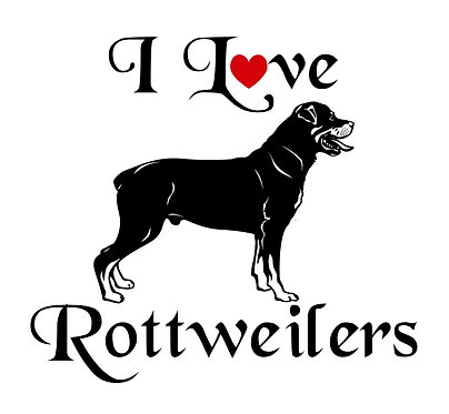 I love rottweilers vynil dog decal sticker in black front view