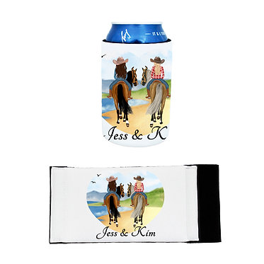 Personalised neoprene stubby cooler best friends beach riding image front and flat view