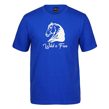 Adults t-shirt horse royal blue heavy horse wild n free image front view