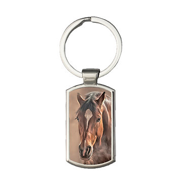 Rectangle metal key-ring bay brown horse image front view