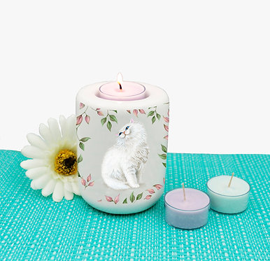 Cat theme ceramic tealight candle holder with white cat and leaves image front view