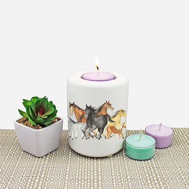 Ceramic horse tea light candle holder front view
