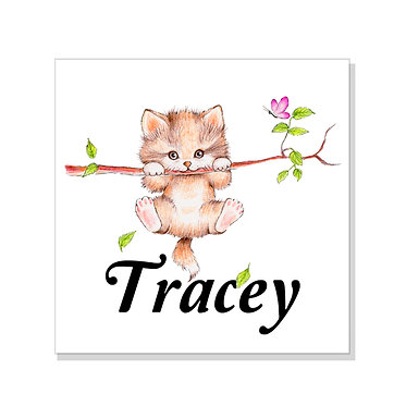 Square art print on card stock personalized with a cute kitty on branch image front view