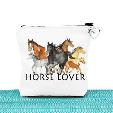 White cosmetic toiletry bag with zipper horse lover image front view
