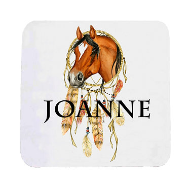 Personalised neoprene drink coaster sets personalised dream catcher horse image front view