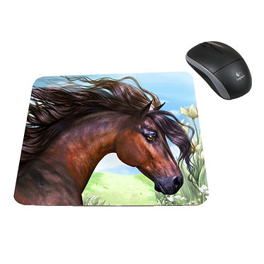 Neoprene computer mouse pad beautiful bay horse image front view