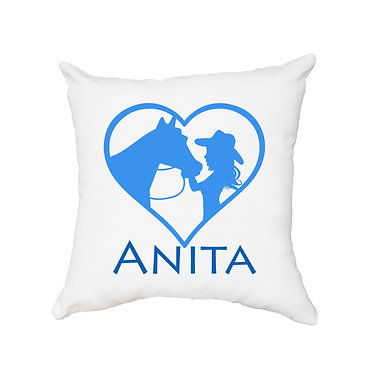White personalised cushion with zip girl and horse in heart blue image front view