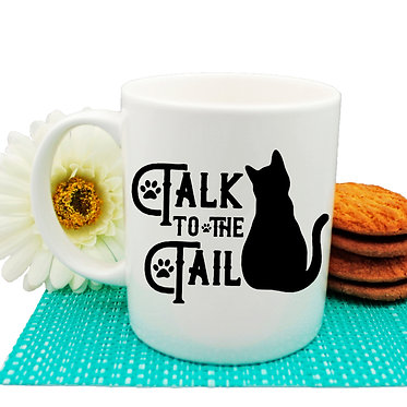 "Ceramic coffee mug black cat ""Talk to the tail"" image front view"