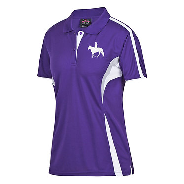 Ladies horse cool polo shirt purple white western horse rider girls rein image front view