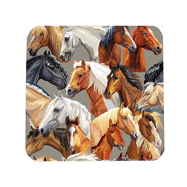 Horse pattern square neoprene drink coaster front view