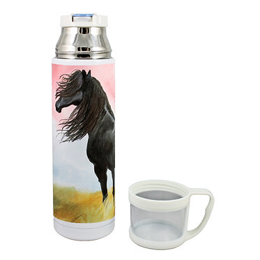 Thermos flask drink travel bottle 500ml stainless steel with cup off black horse image front view