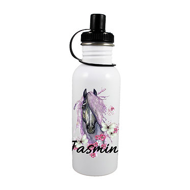 Personalised stainless steel water bottle purple horse image front view