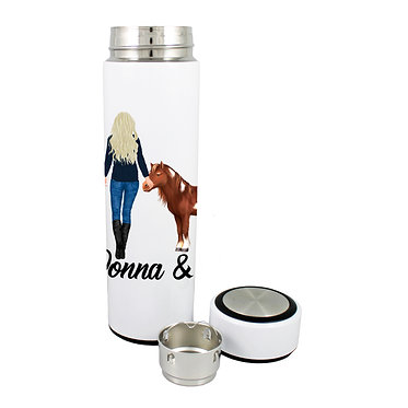Personalised thermos flask 500ml stainless steel blond haired girl and mini pony image front lid off view