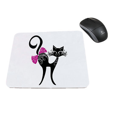 Neoprene computer mouse pad cat with bow image front view