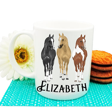 Personalised ceramic coffee mug three horses image front view