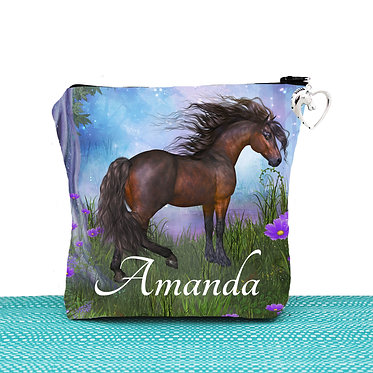 White cosmetic toiletry bag with zipper personalised magical horse image front view