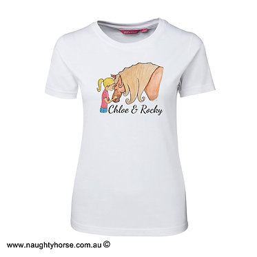 Ladies slim fit t-shirt white 100% cotton with horse and girl friendship image front view