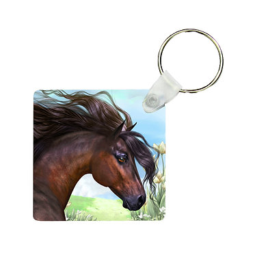 Square MDF key-ring beautiful bay horse image front view