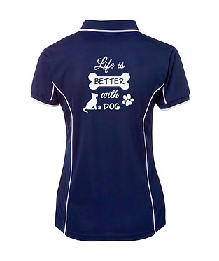 "Navy with white image dog polo shirt with quote ""life is better with a dog"" back view"