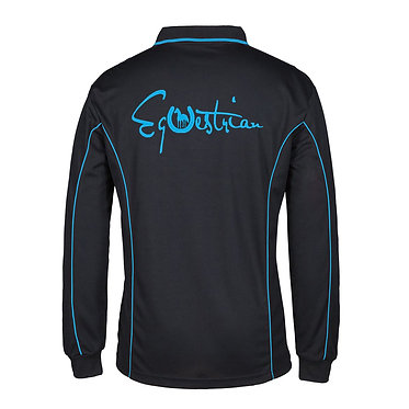 Adults long sleeve polo shirt black aqua equestrian horse image back view