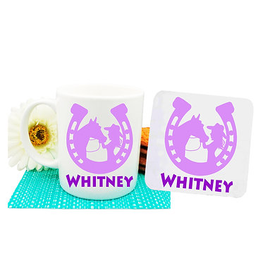 Personalised coffee mug and coaster set horse and girl purple image front view