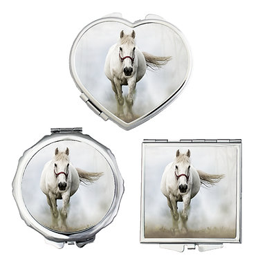 Compact mirrors in 3 shapes heart, round and square white horse in mist image front view