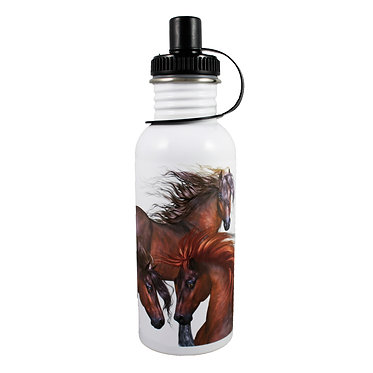 Stainless steel water bottle with three horses image front view