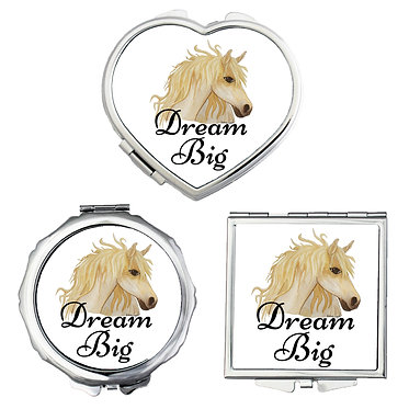 Compact mirrors in 3 shapes heart, round and square dream big horse image front view