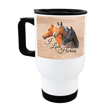 Travel mug stainless steel with I love horses image front view