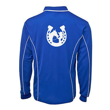 Adults long sleeve polo shirt royal blue white horse and girl in horseshoe image back view