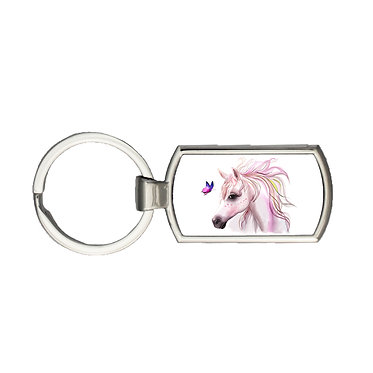 Rectangle metal key-ring horse and butterfly image front view