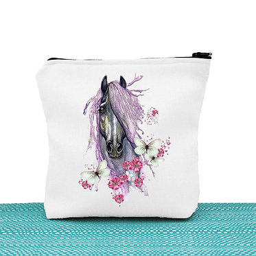 White cosmetic toiletry bag with zipper purple horse with butterflies image front view