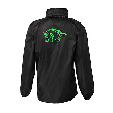 Black with green horse image rain forest sheet jacket back view