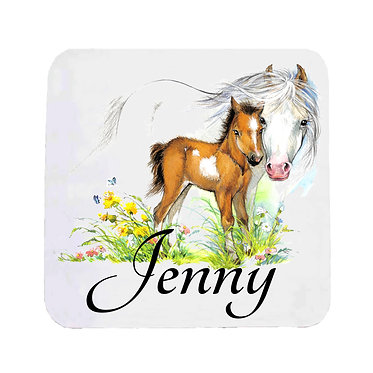 Personalised neoprene drink coaster sets personalised mare and foal horse image front view