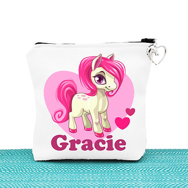 White cosmetic toiletry bag with zipper personalised cute pony and hearts hot pink image front view