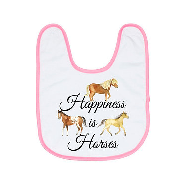 Babies bib white with blue trim and happiness is horses image front view