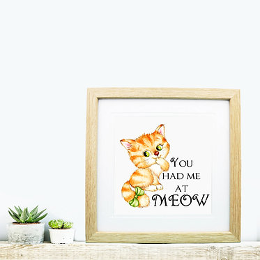 Square wood picture frame cute kitty you had me at meow image front view
