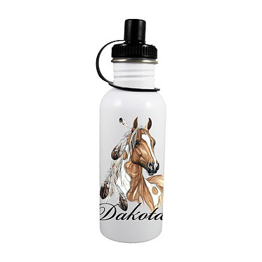 Personalised stainless steel water bottle paint horse with feathers image front view